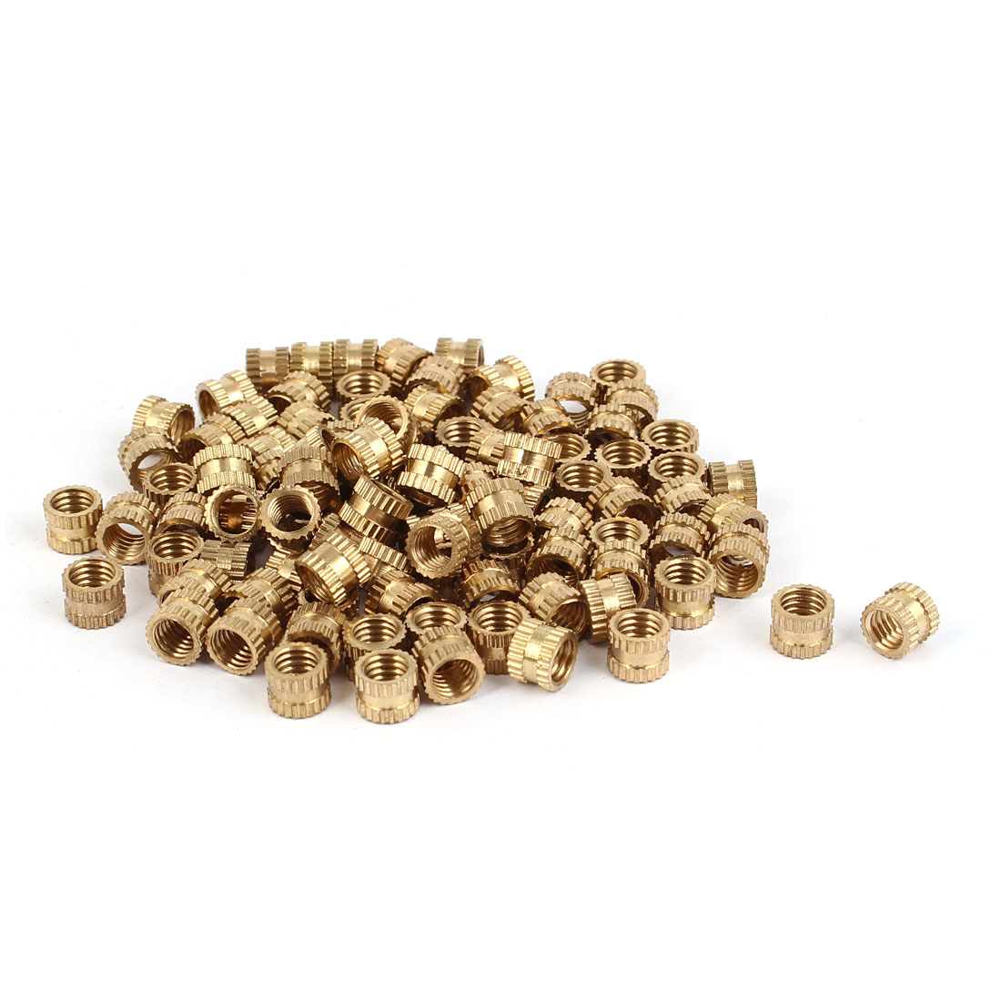 M5 x 5mm Brass Cylinder Injection Molding Knurled Threaded Embedment Nuts 100PCS