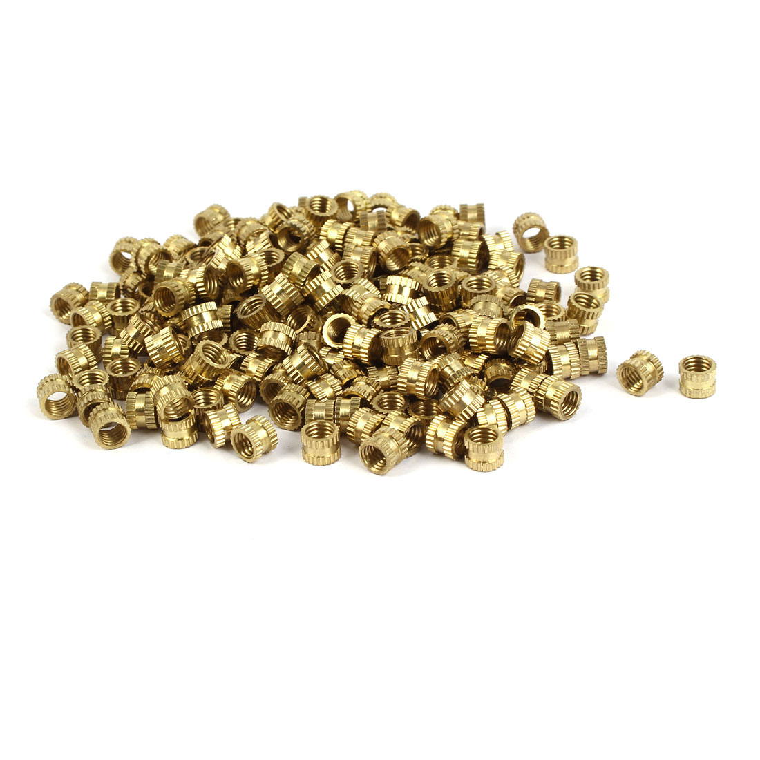 M5 x 5mm 0.8mm Pitch Brass Knurled Threaded Round Insert Embedded Nuts 200PCS