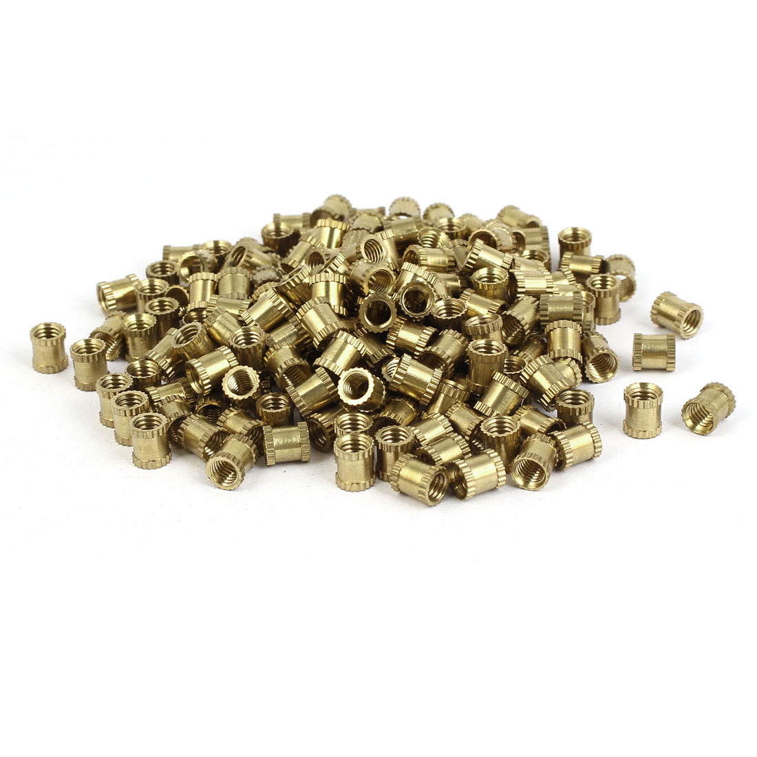 M5 x 7mm Female Thread Brass Knurled Threaded Round Insert Embedded Nuts 200PCS