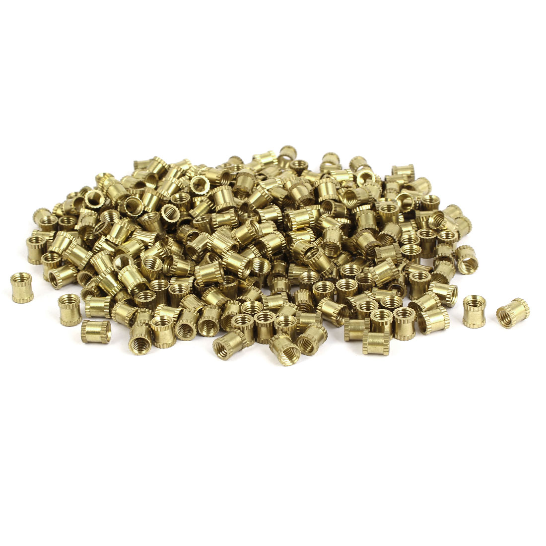 M5 x 7mm x 6.3mm Brass Cylinder Knurled Threaded Insert Embedded Nuts 500PCS