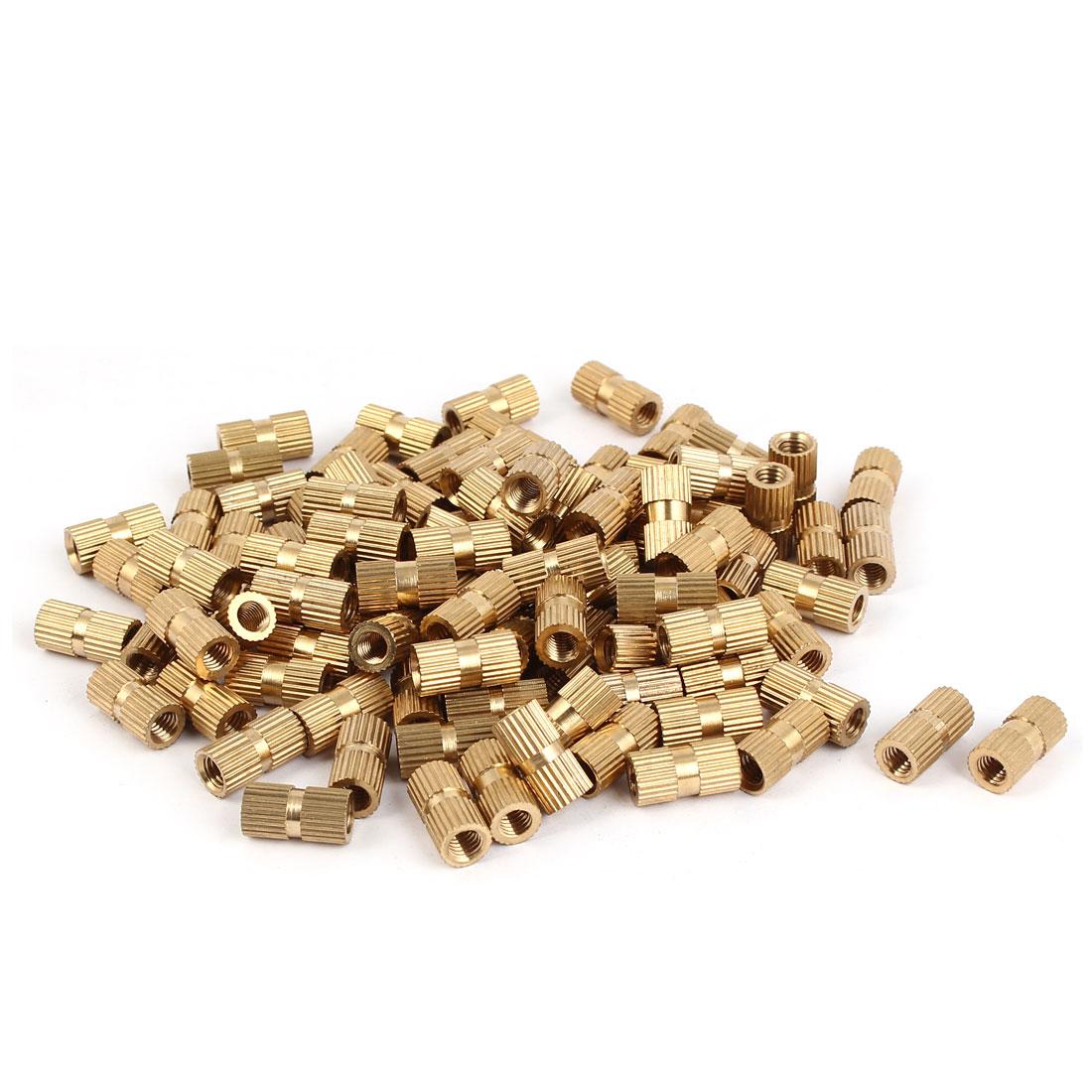 M5 x 14mm x 7.3mm Brass Knurled Threaded Round Insert Embedded Nuts 100PCS