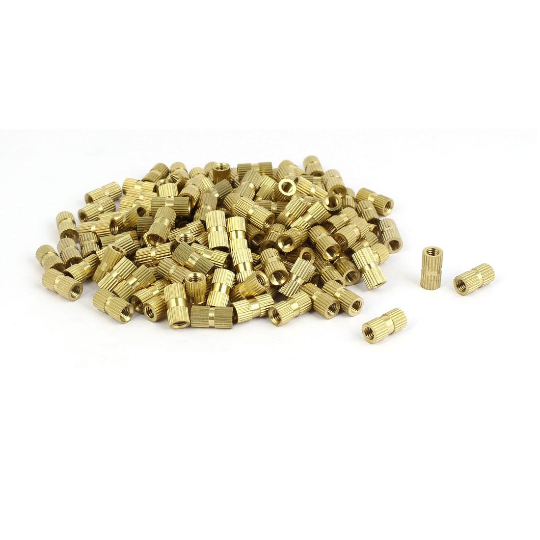 M5 x 14mm Female Thread Brass Knurled Threaded Insert Embedment Nuts 200PCS