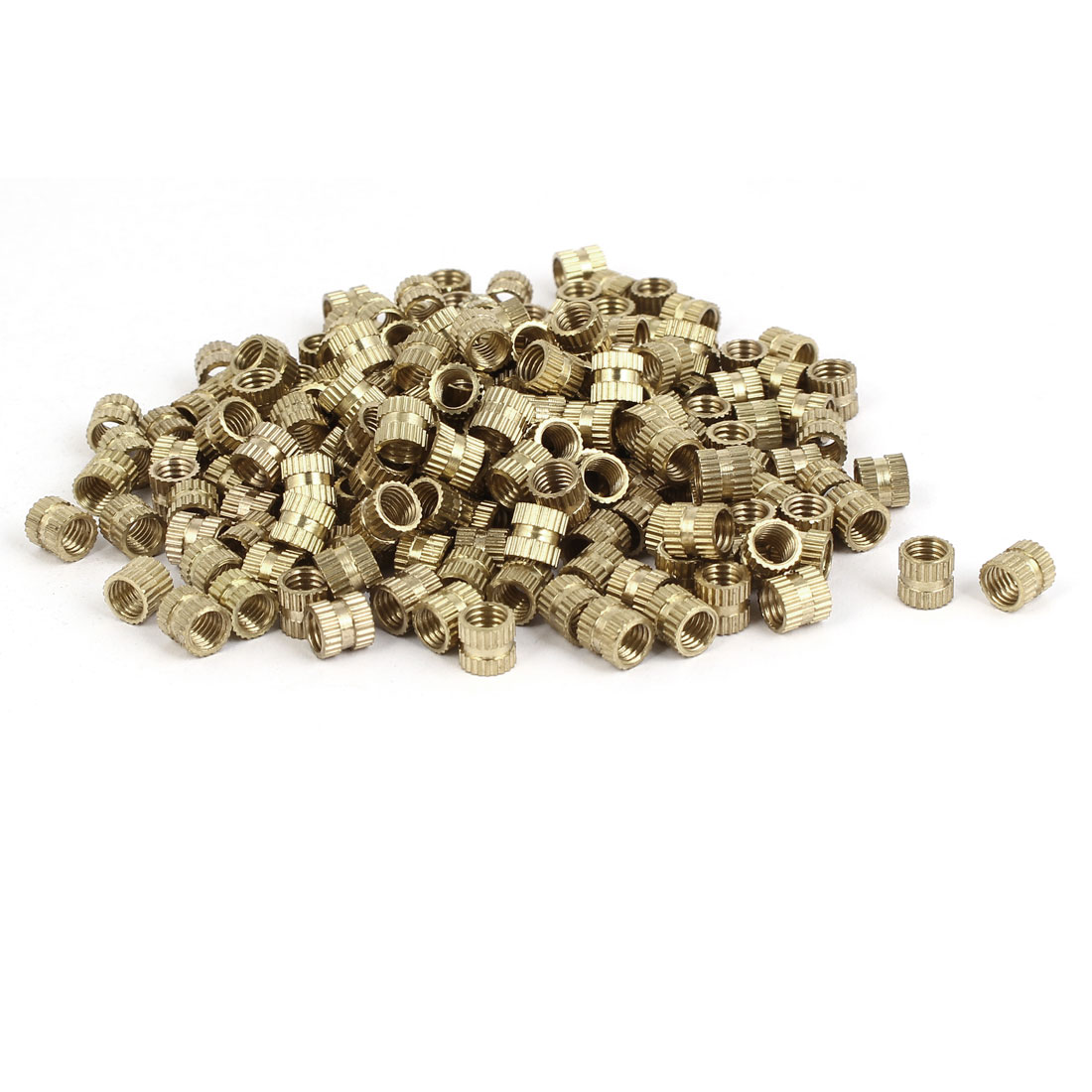 M5 x 6mm 0.8mm Pitch Brass Knurled Threaded Round Insert Embedment Nuts 200PCS