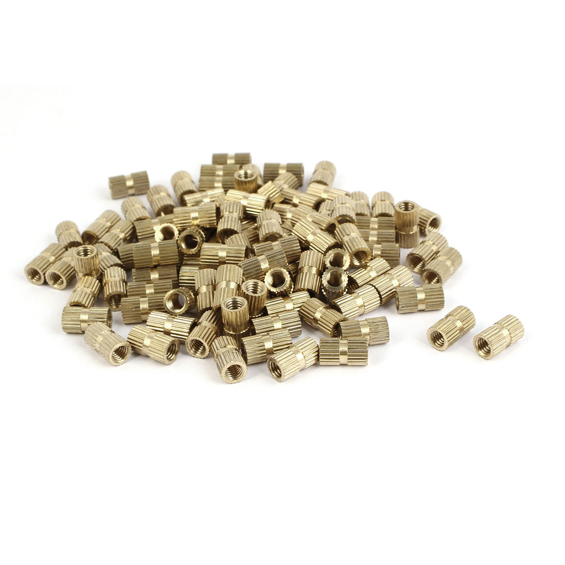 M5 x 12mm x 6.8mm Brass Injection Molding Knurled Threaded Insert Nuts 100PCS