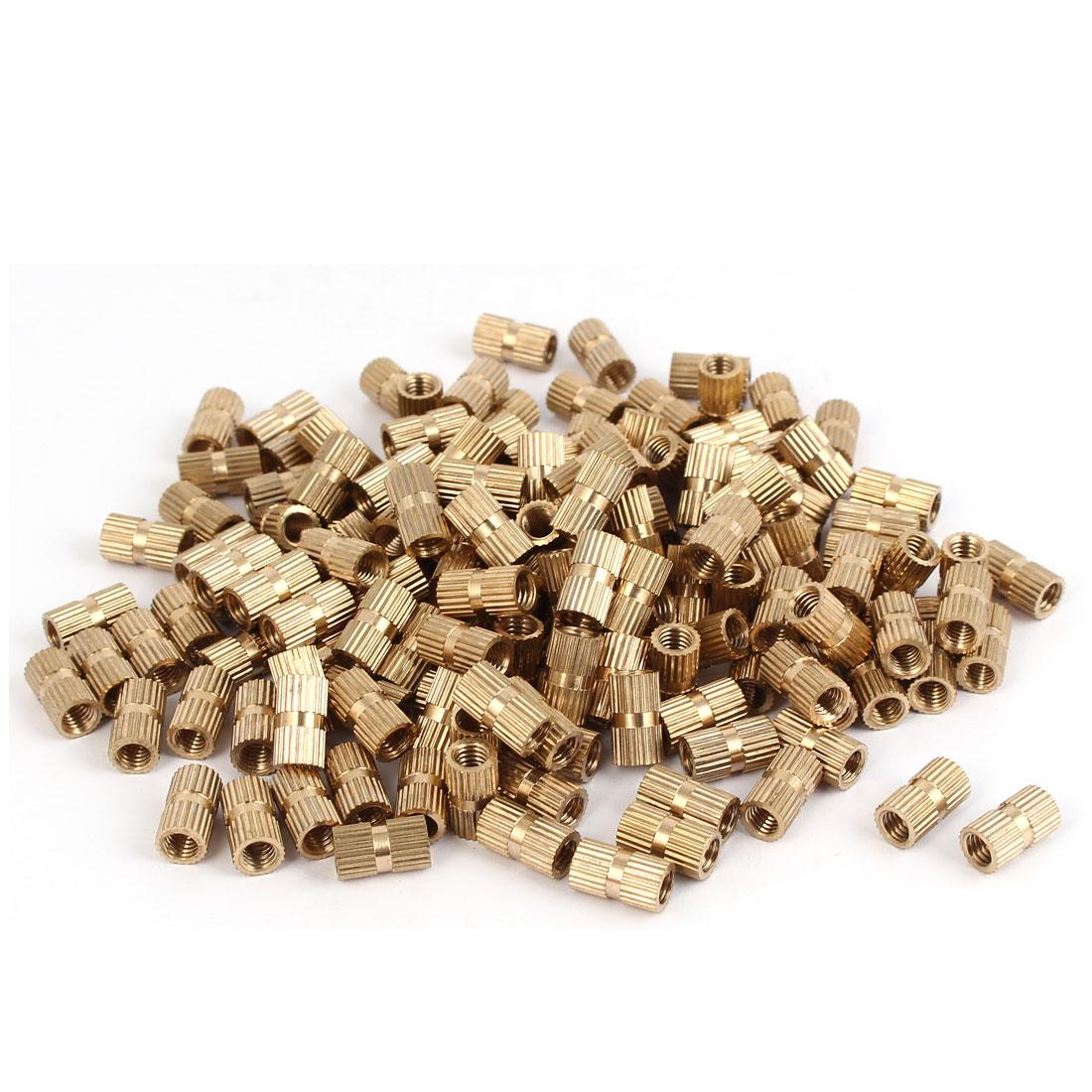 M5 x 12mm Female Thread Brass Knurled Threaded Insert Embedment Nuts 200PCS