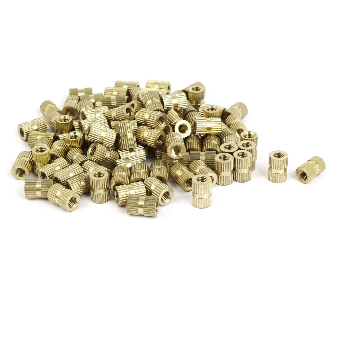 M5 x 12mm Brass Cylinder Knurled Threaded Round Insert Embedded Nuts 100PCS
