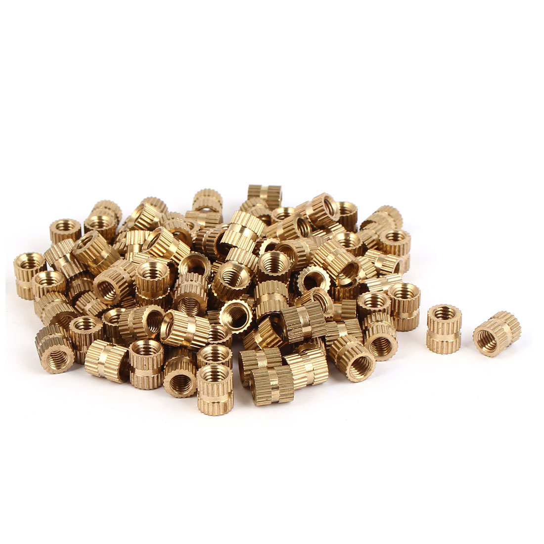 M5 x 8mm Female Thread Brass Knurled Threaded Round Insert Embedded Nuts 100PCS