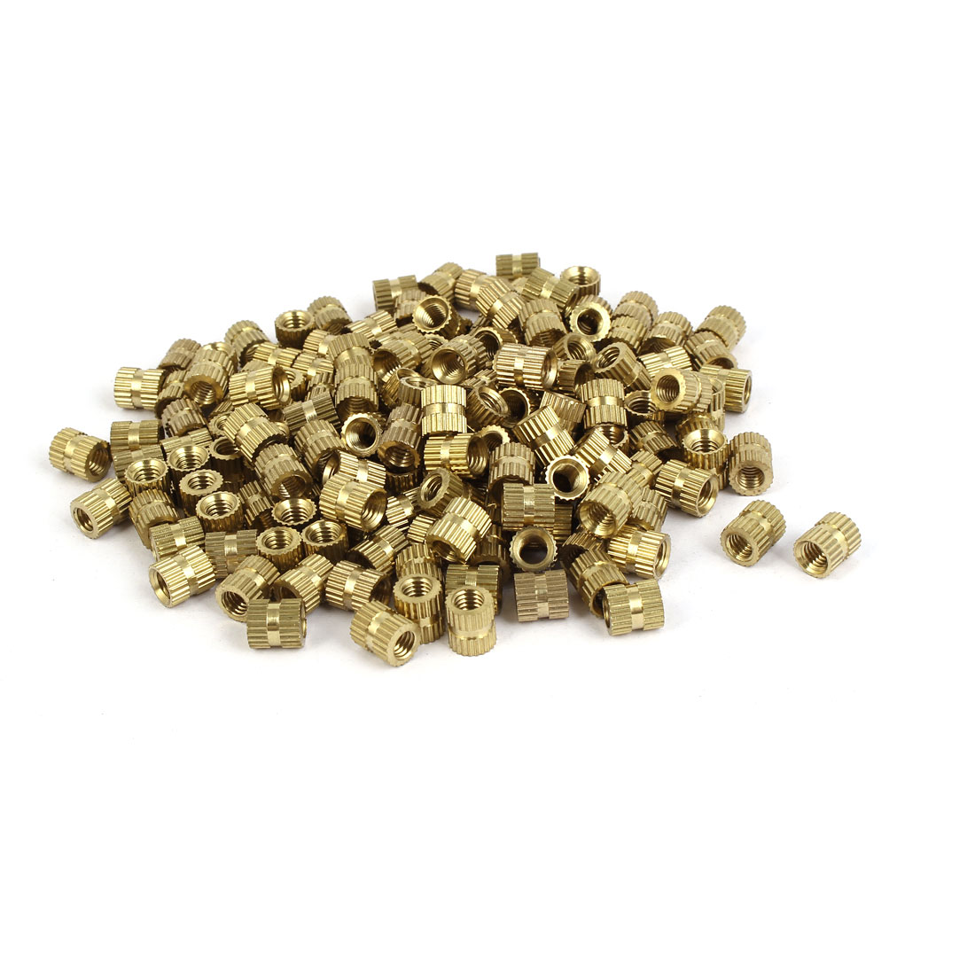 M5 x 8mm Brass Cylindrical Knurled Threaded Round Insert Embedded Nuts 200PCS