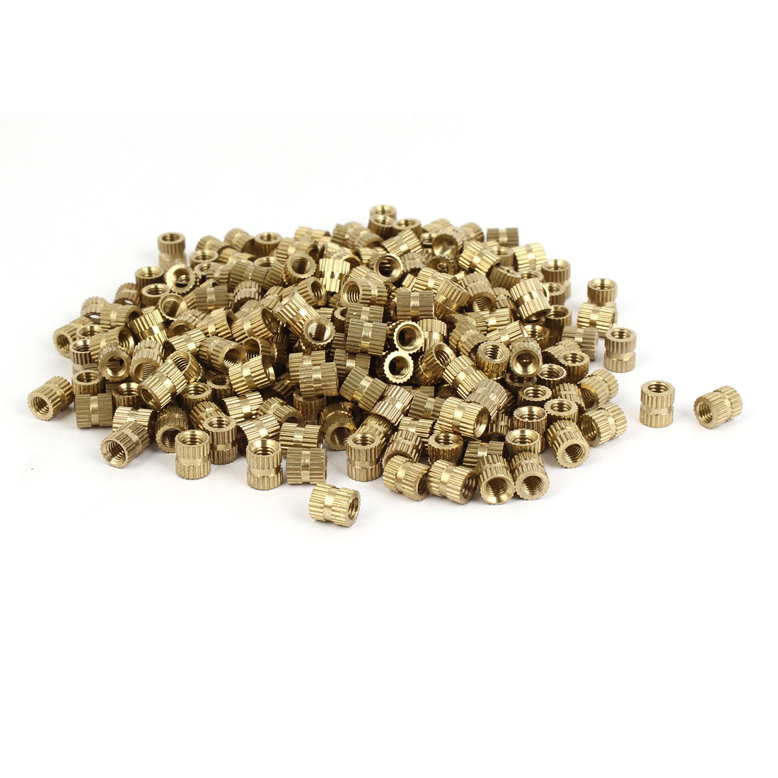 M5 x 8mm Brass Cylinder Injection Molding Knurled Threaded Insert Nuts 500PCS