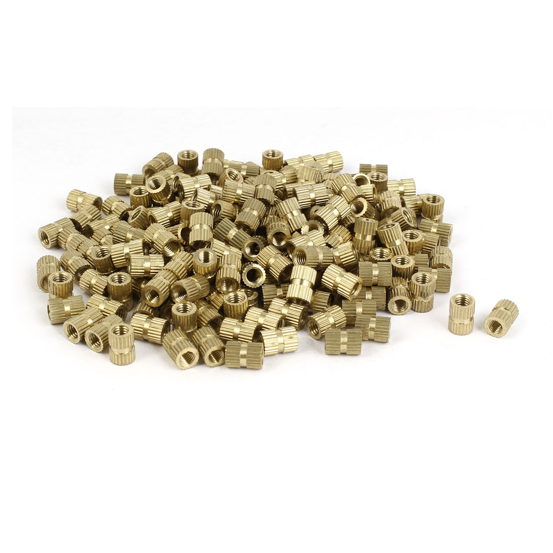 M5 x 10mm Brass Cylinder Injection Molding Knurled Insert Embedded Nuts 100PCS