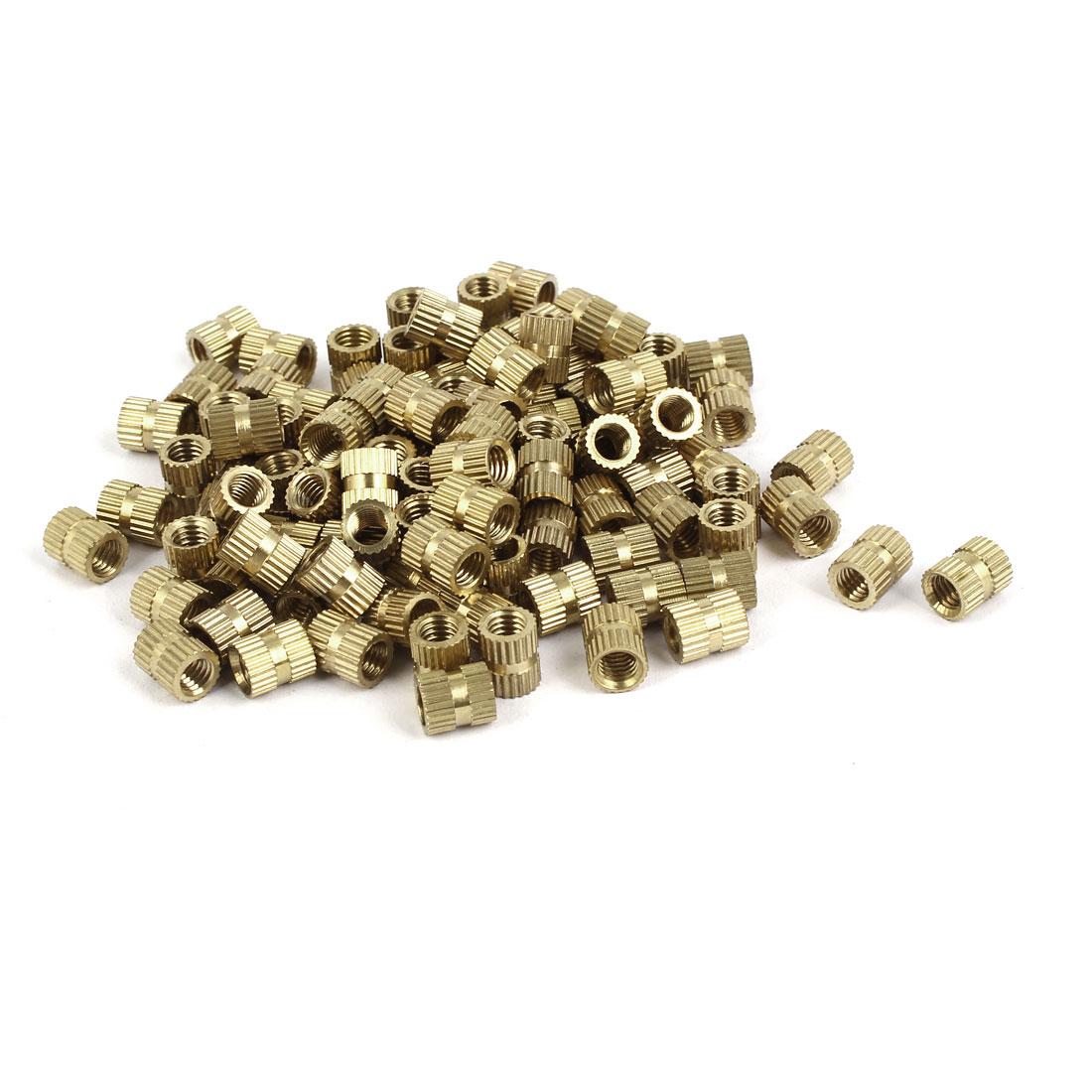 M5 x 8mm x 6.8mm Brass Injection Molding Knurled Threaded Insert Nuts 100PCS