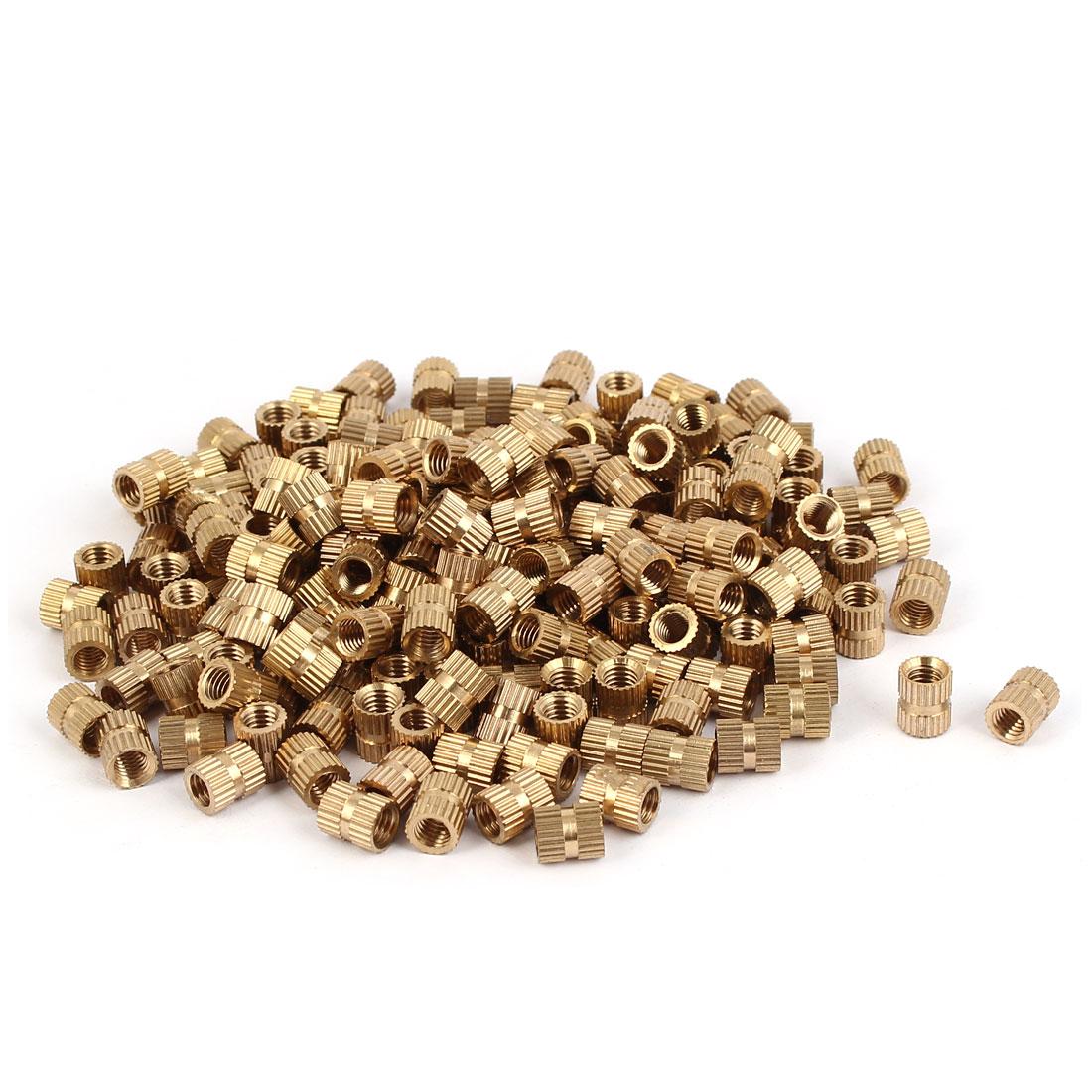M5 x 8mm x 6.8mm Brass Cylinder Knurled Threaded Insert Embedment Nuts 200PCS