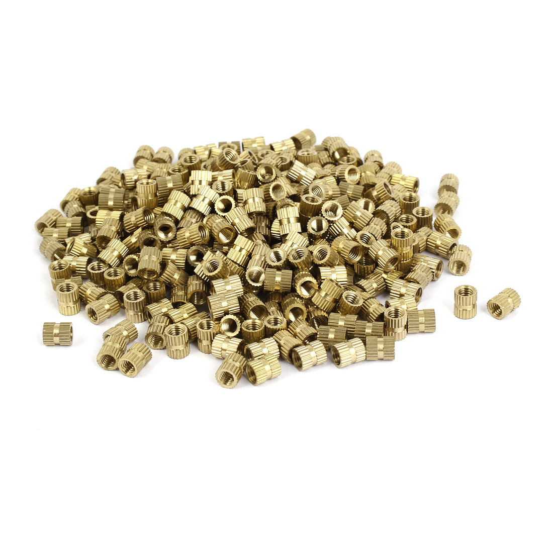M5 x 8mm 0.8mm Pitch Brass Cylinder Knurled Threaded Round Insert Nuts 500PCS