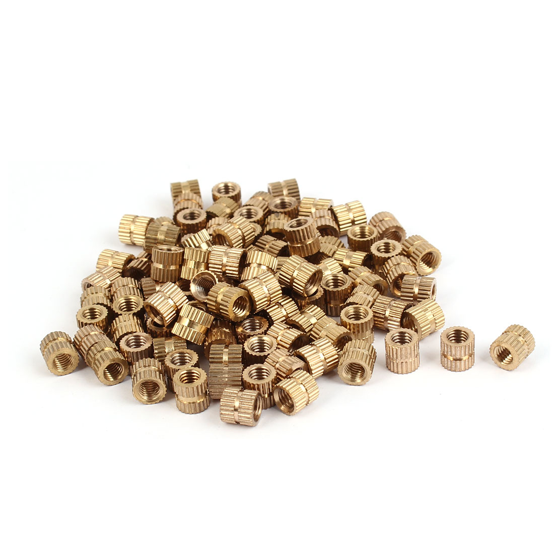 M5 x 7mm Brass Cylindrical Knurled Threaded Round Insert Embedded Nuts 100PCS