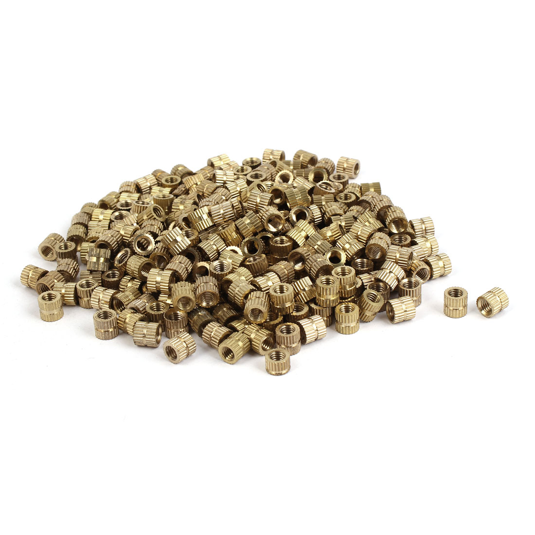 M5 x 7mm x 7.3mm Brass Cylinder Injection Molding Knurled Insert Nuts 500PCS