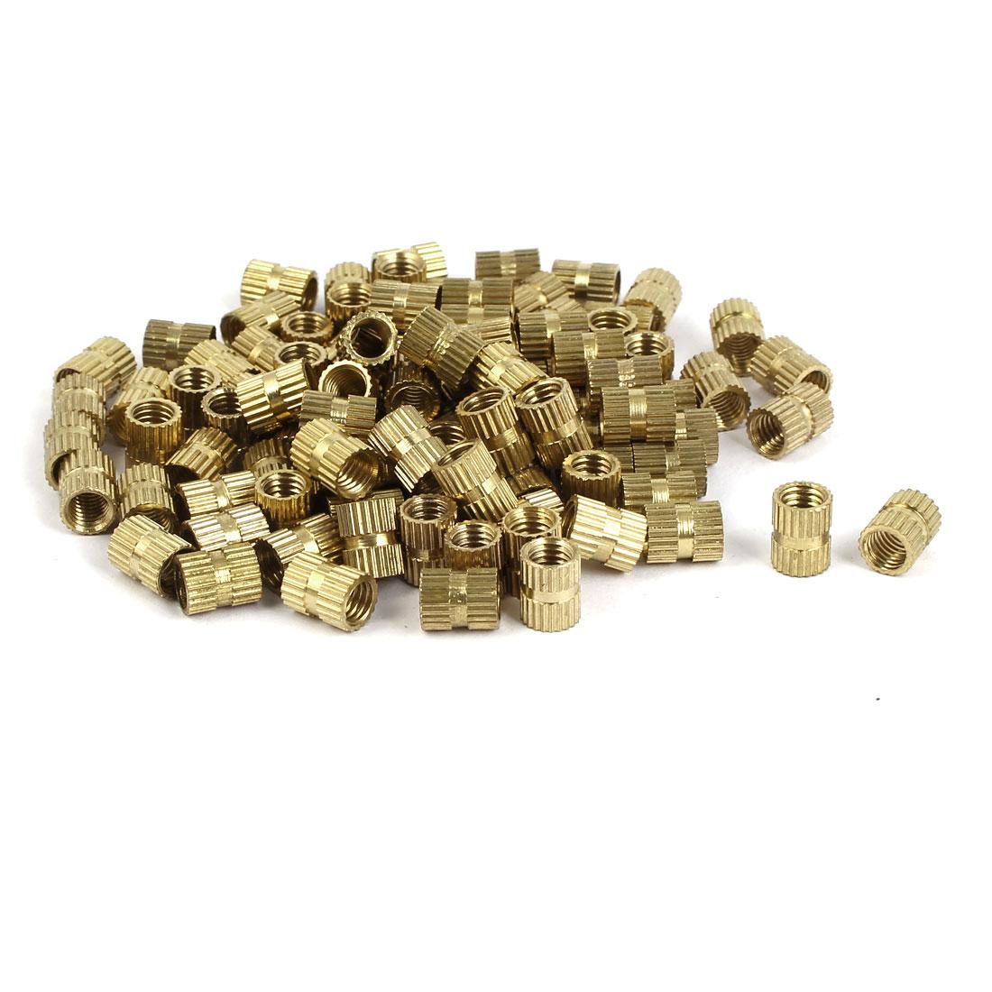M5 x 8mm x 6.3mm Brass Knurled Threaded Round Insert Embedded Nuts 100PCS
