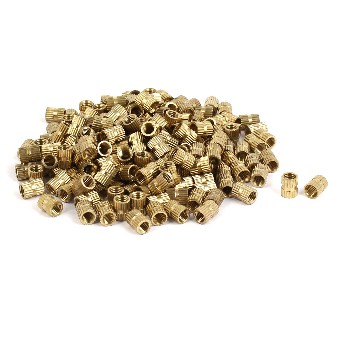 M5 x 8mm Brass Cylinder Injection Molding Knurled Threaded Embedment Nuts 200PCS