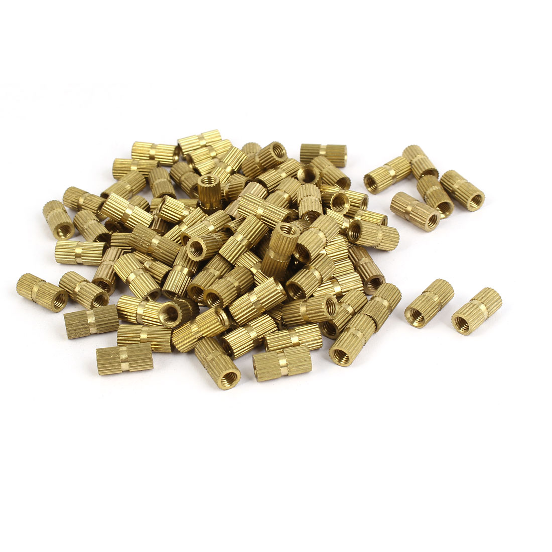 M5 x 15mm Brass Cylinder Injection Molding Knurled Threaded Insert Nuts 100PCS