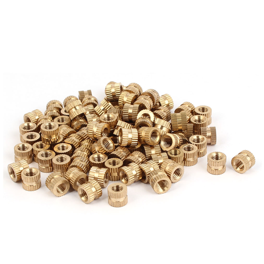 M5 x 7mm Brass Cylinder Knurled Threaded Round Insert Embedded Nuts 100PCS