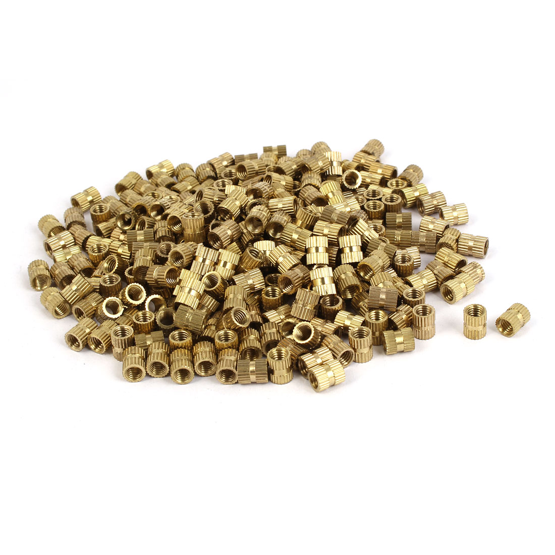 M5 x 8mm Brass Cylinder Knurled Threaded Round Insert Embedded Nuts 500PCS