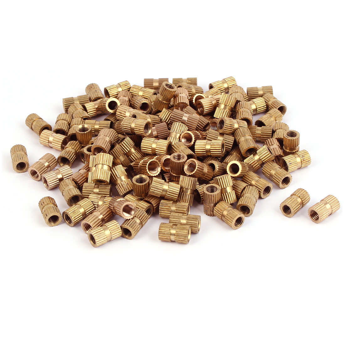 M5 x 12mm x 7.3mm Brass Knurled Threaded Round Insert Embedded Nuts 200PCS
