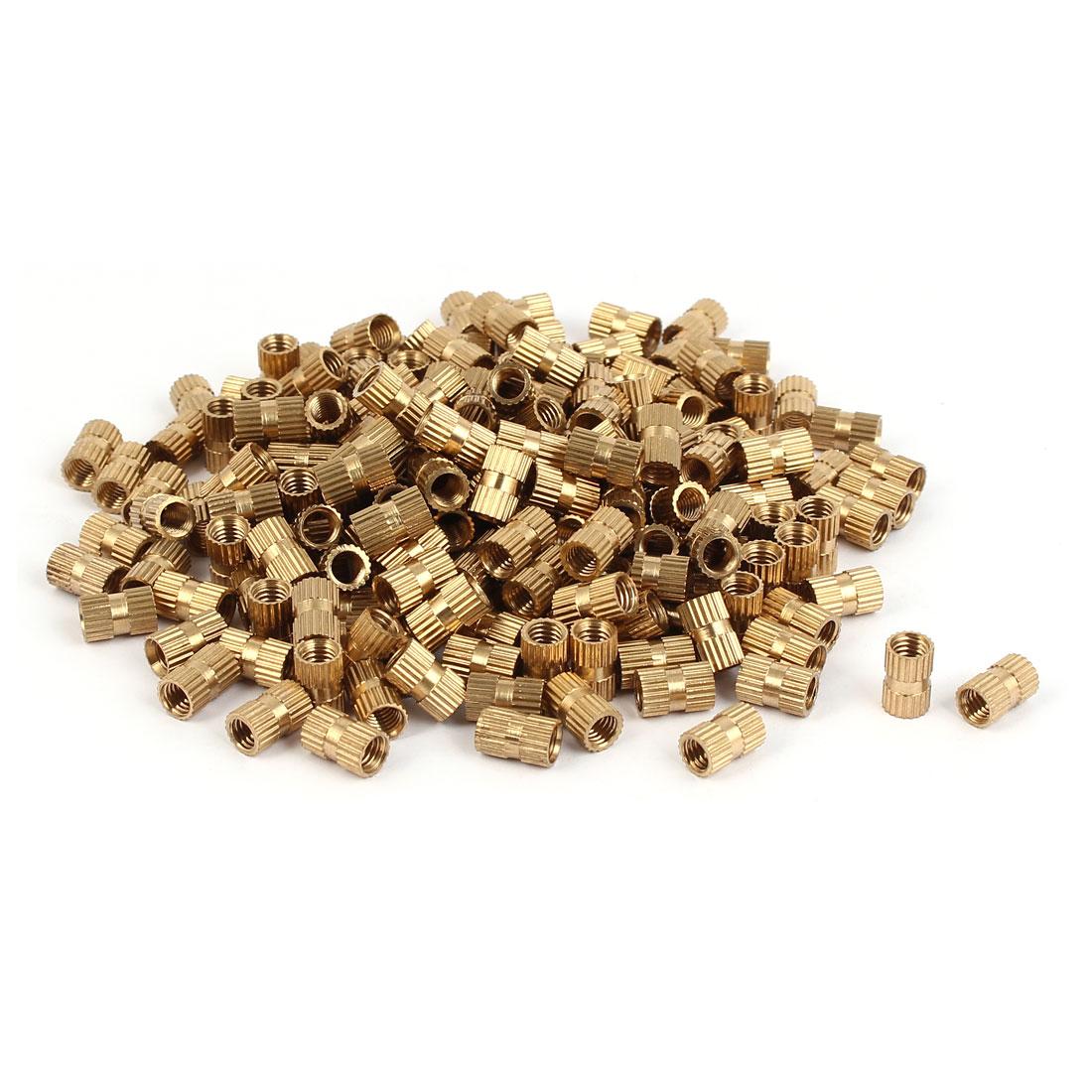 M5 x 10mm Female Thread Brass Knurled Threaded Insert Embedment Nuts 200PCS