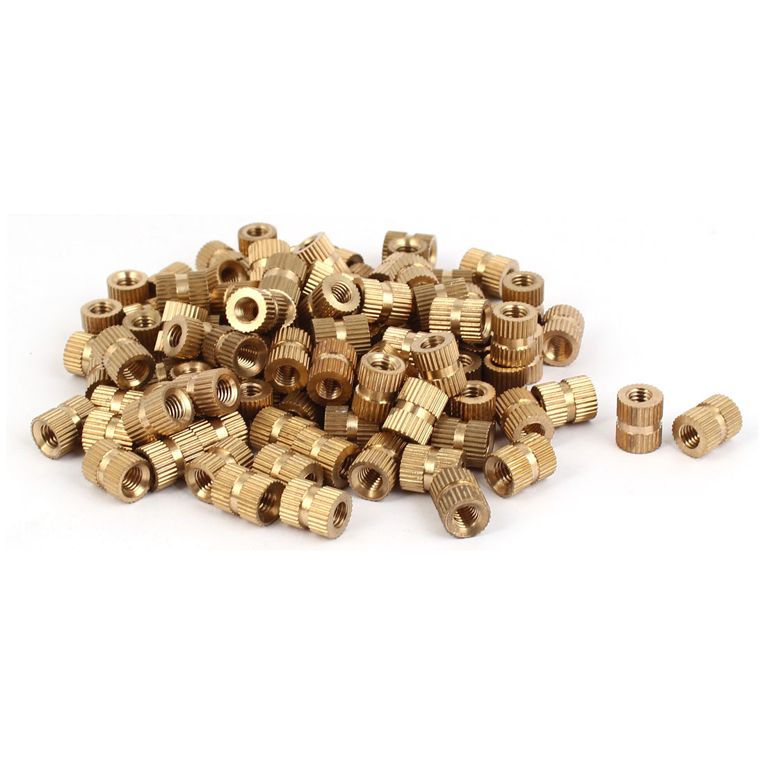 M5 x 10mm Female Thread Brass Knurled Threaded Insert Embedment Nuts 100PCS