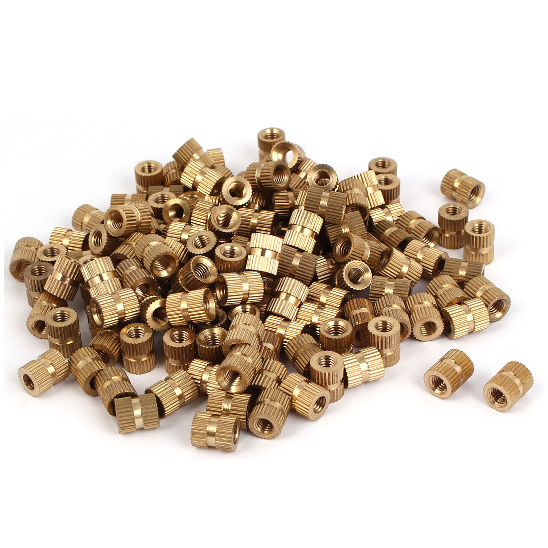 M5 x 10mm Brass Cylinder Injection Molding Knurled Threaded Insert Nuts 200PCS