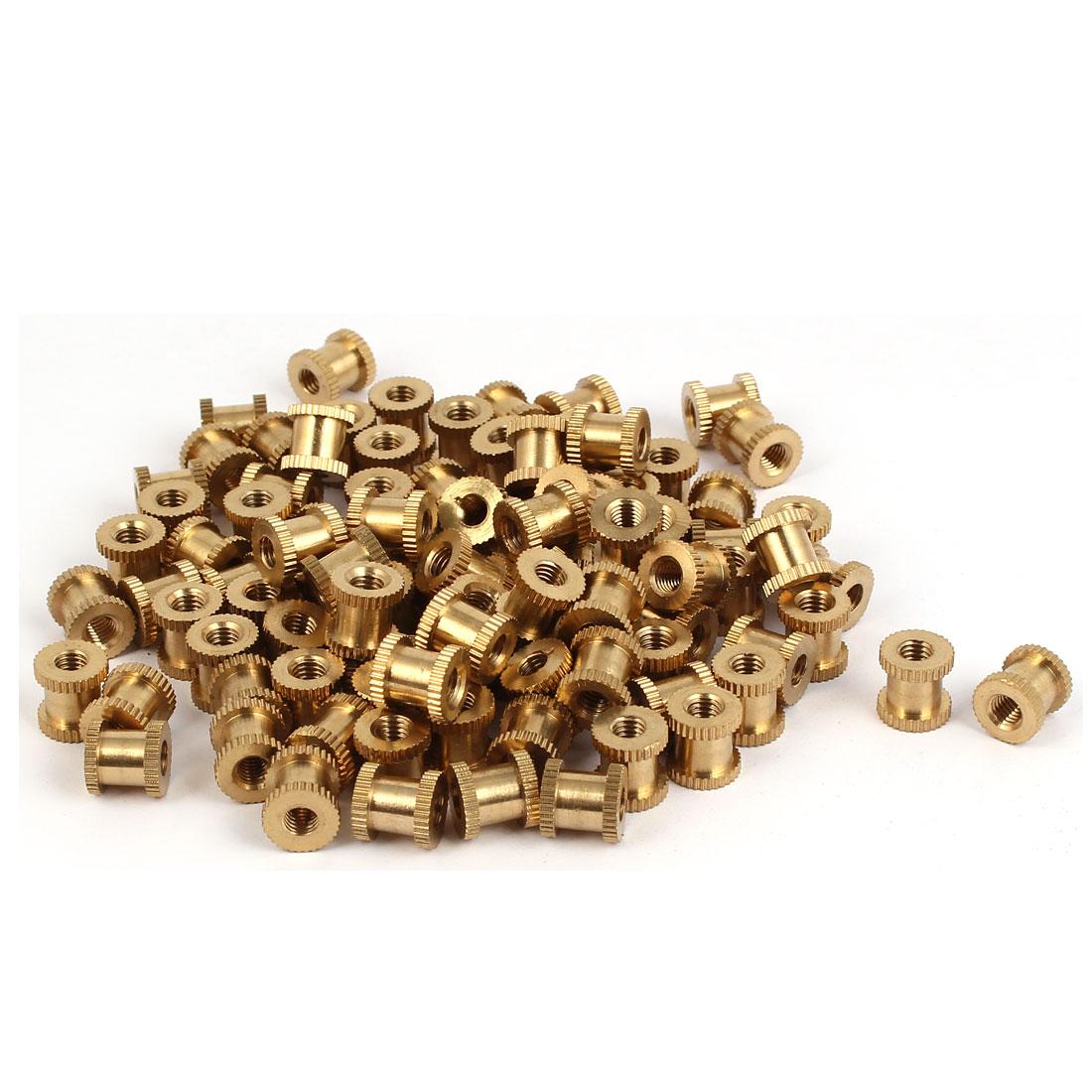 M5 x 10mm Brass Cylinder Knurled Threaded Round Insert Embedded Nuts 100PCS