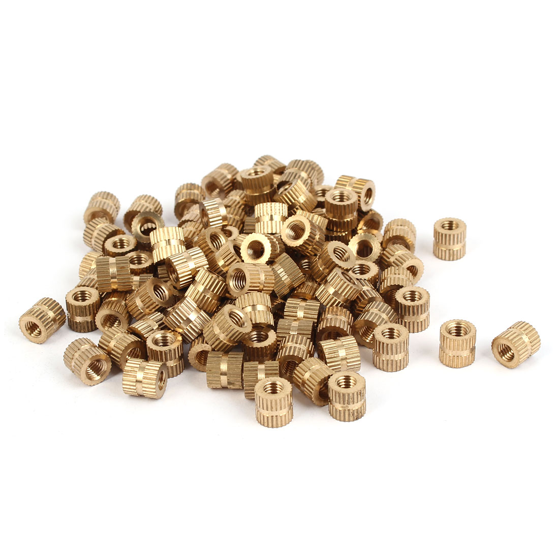 M5 x 8mm Brass Injection Molding Knurled Threaded Insert Embedded Nuts 100PCS