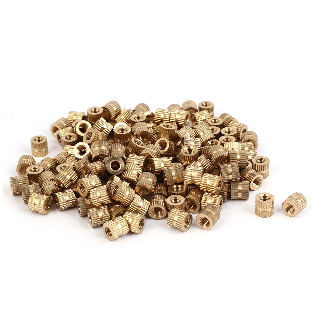 M5 x 8mm Brass Cylinder Knurled Threaded Round Insert Embedded Nuts 200PCS
