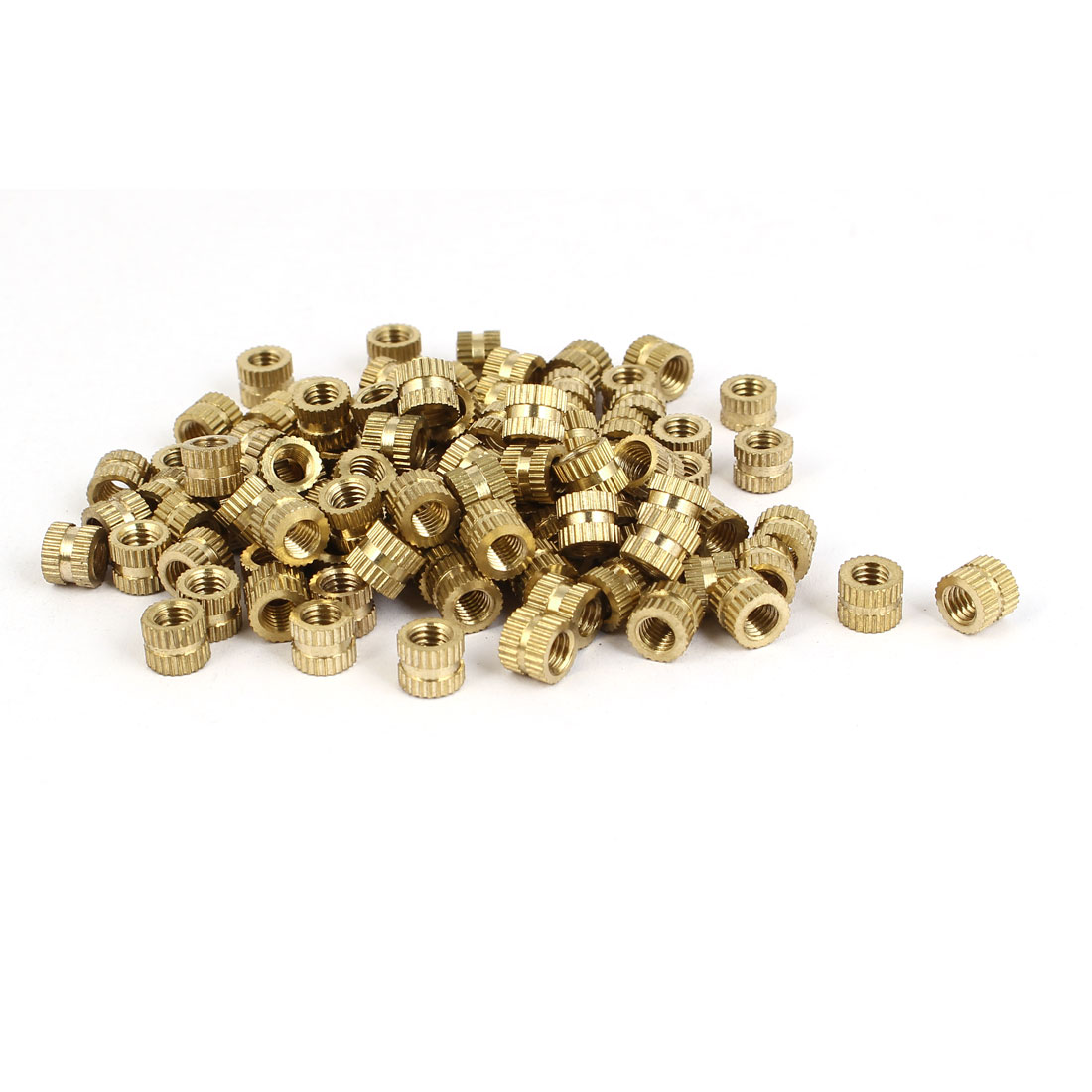 M5 x 6mm x 7.3mm Brass Cylinder Knurled Threaded Insert Embedded Nuts 100PCS