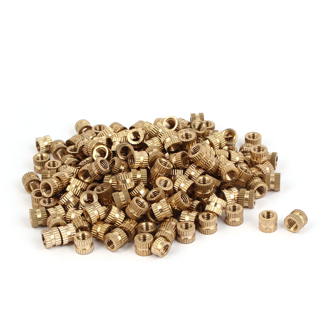 M5 x 6mm Brass Cylinder Knurled Threaded Round Insert Embedded Nuts 200PCS