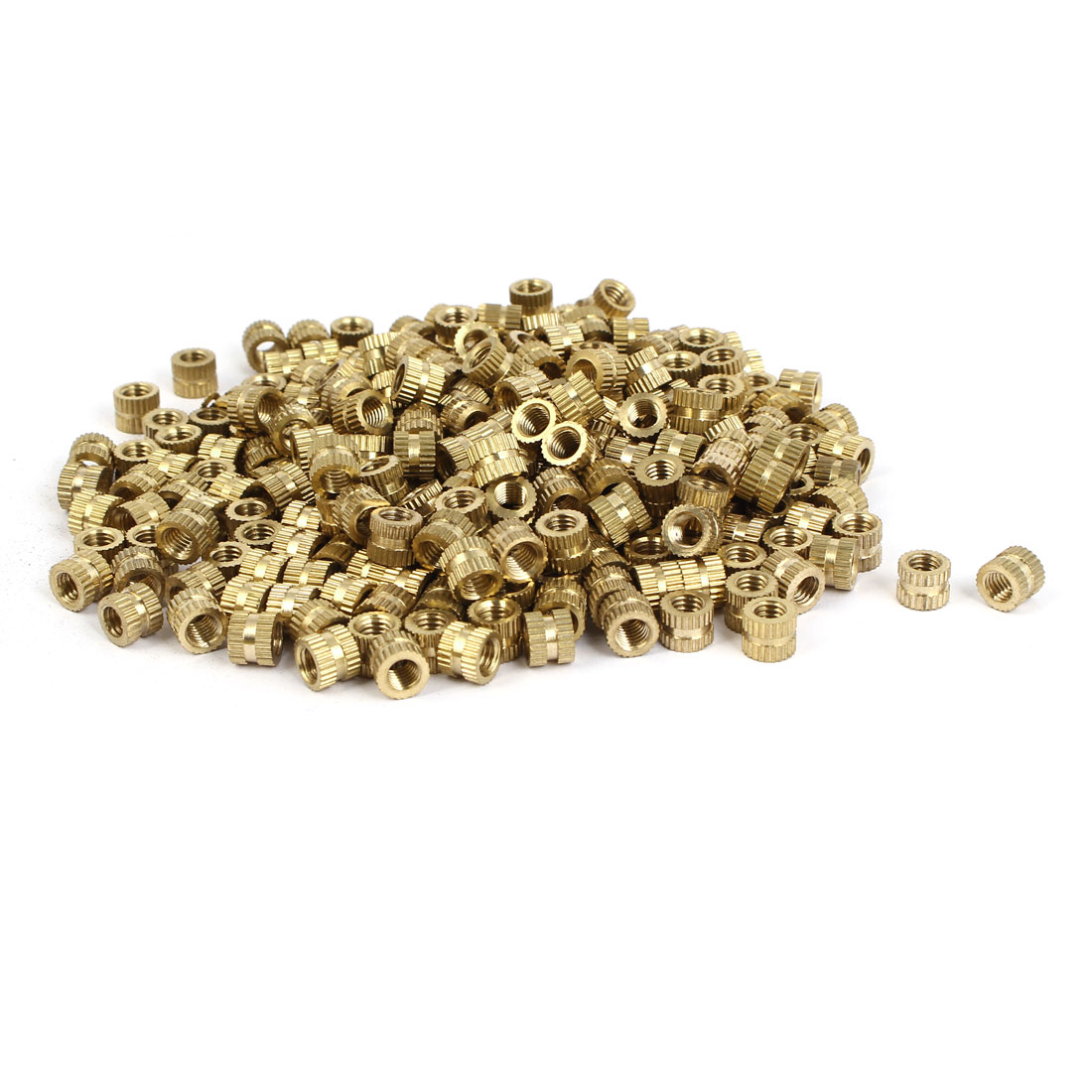 M5 x 6mm Brass Cylinder Injection Molding Knurled Threaded Insert Nuts 500PCS