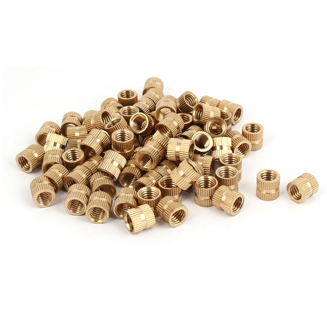 M8 x 10mm Brass Cylinder Injection Molding Knurled Insert Embedded Nuts 100PCS