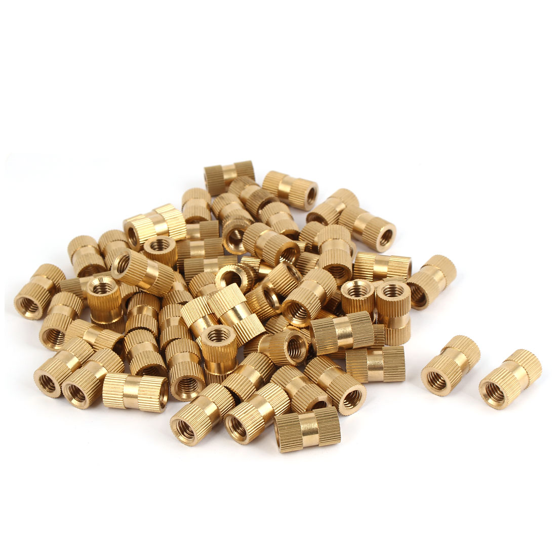 M8 x 20mm Female Thread Brass Knurled Threaded Round Insert Embedded Nuts 100PCS