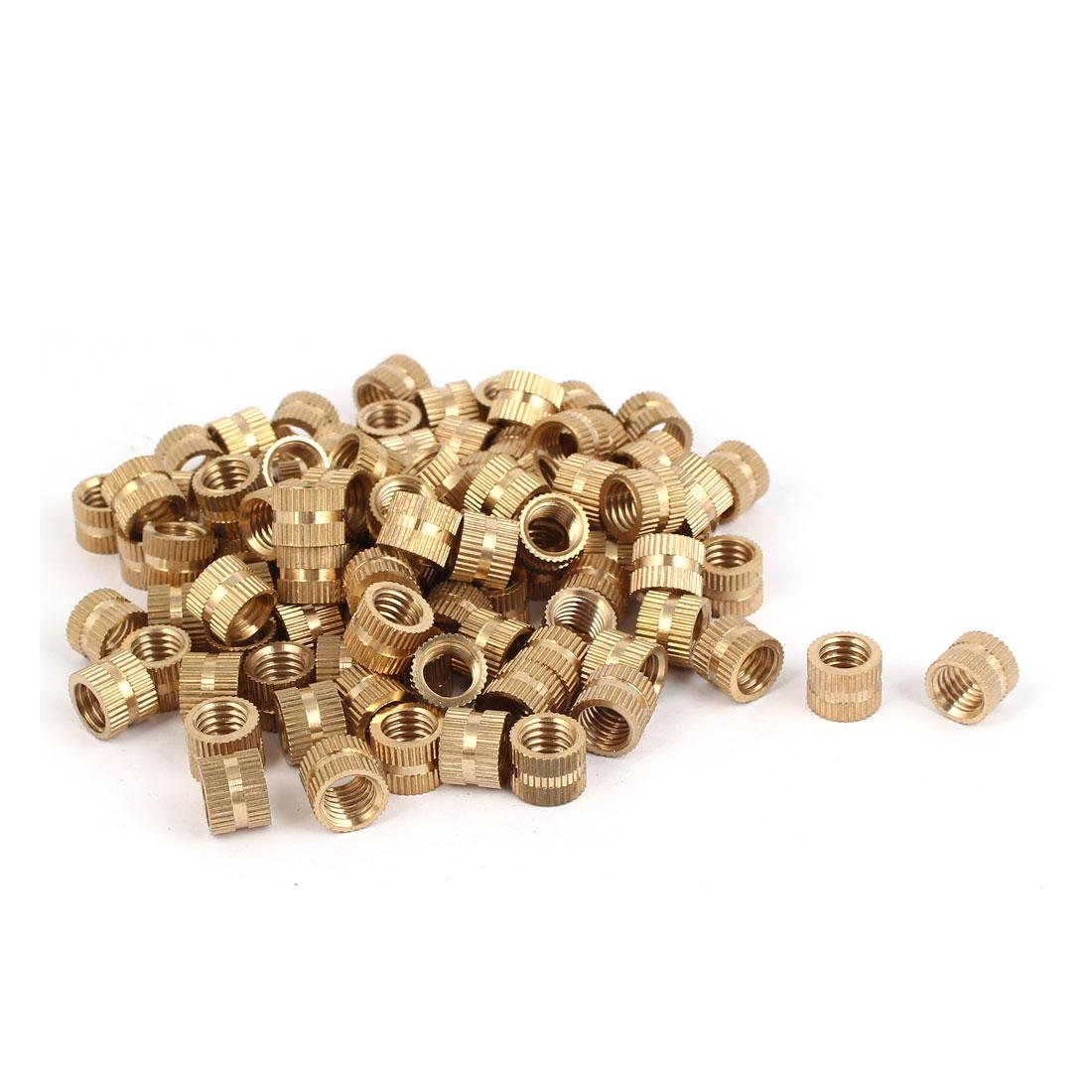M8 x 8mm x 1.25mm Brass Knurled Threaded Round Insert Embedded Nuts 100PCS
