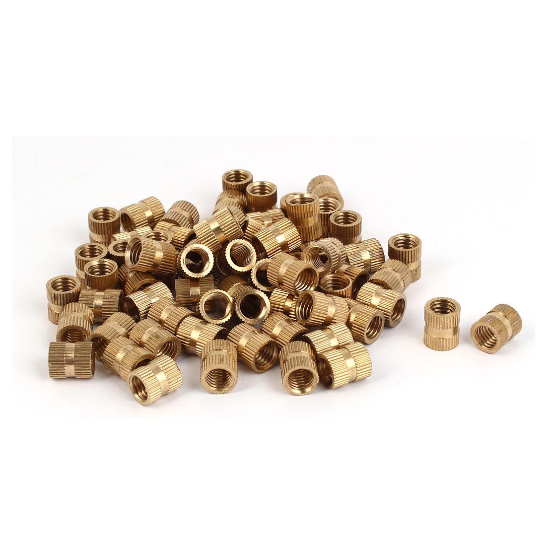 M8 x 12mm x 10mm Cylinder Brass Knurled Threaded Insert Embedment Nuts 100PCS