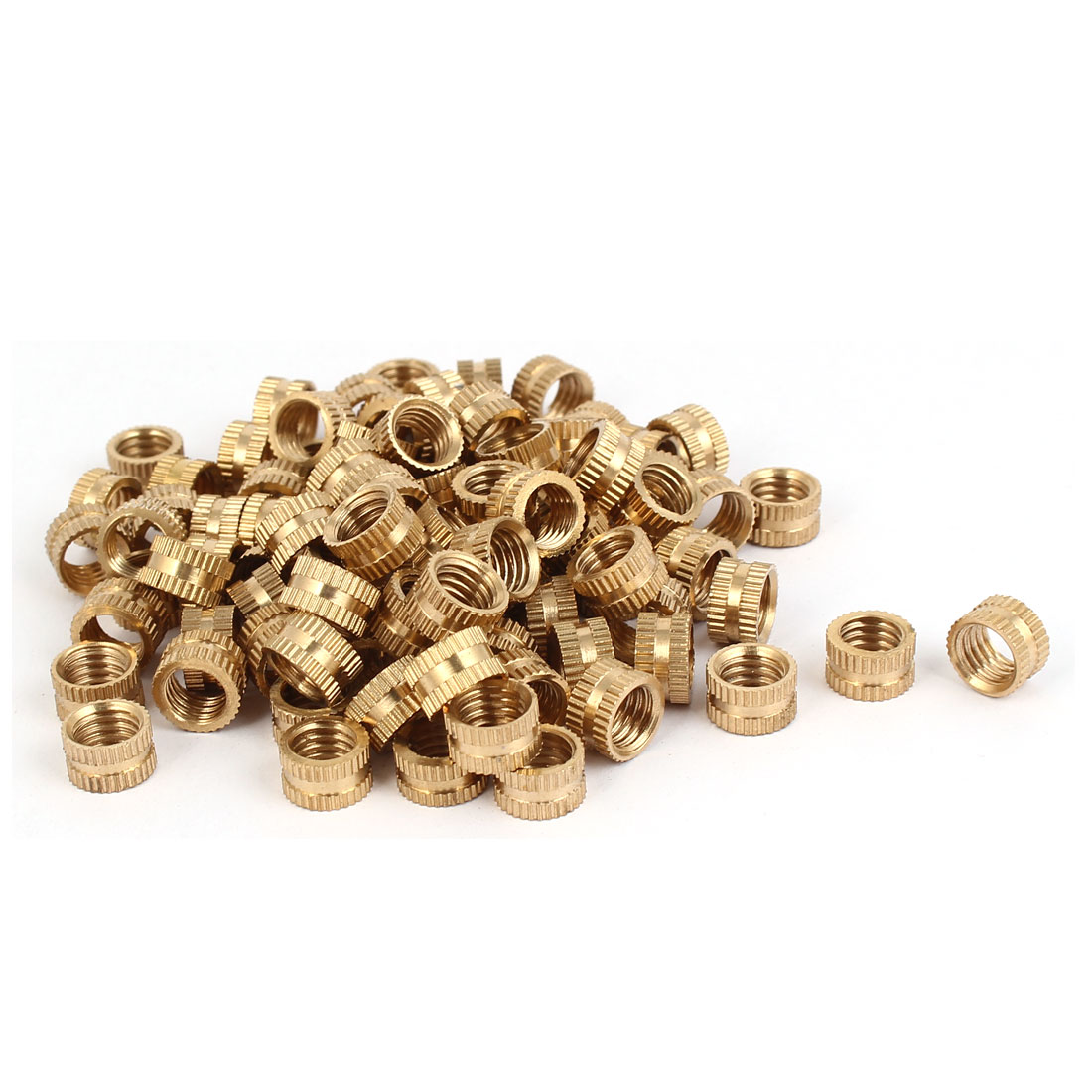 M8 x 6mm Female Thread Brass Knurled Threaded Round Insert Embedded Nuts 100PCS