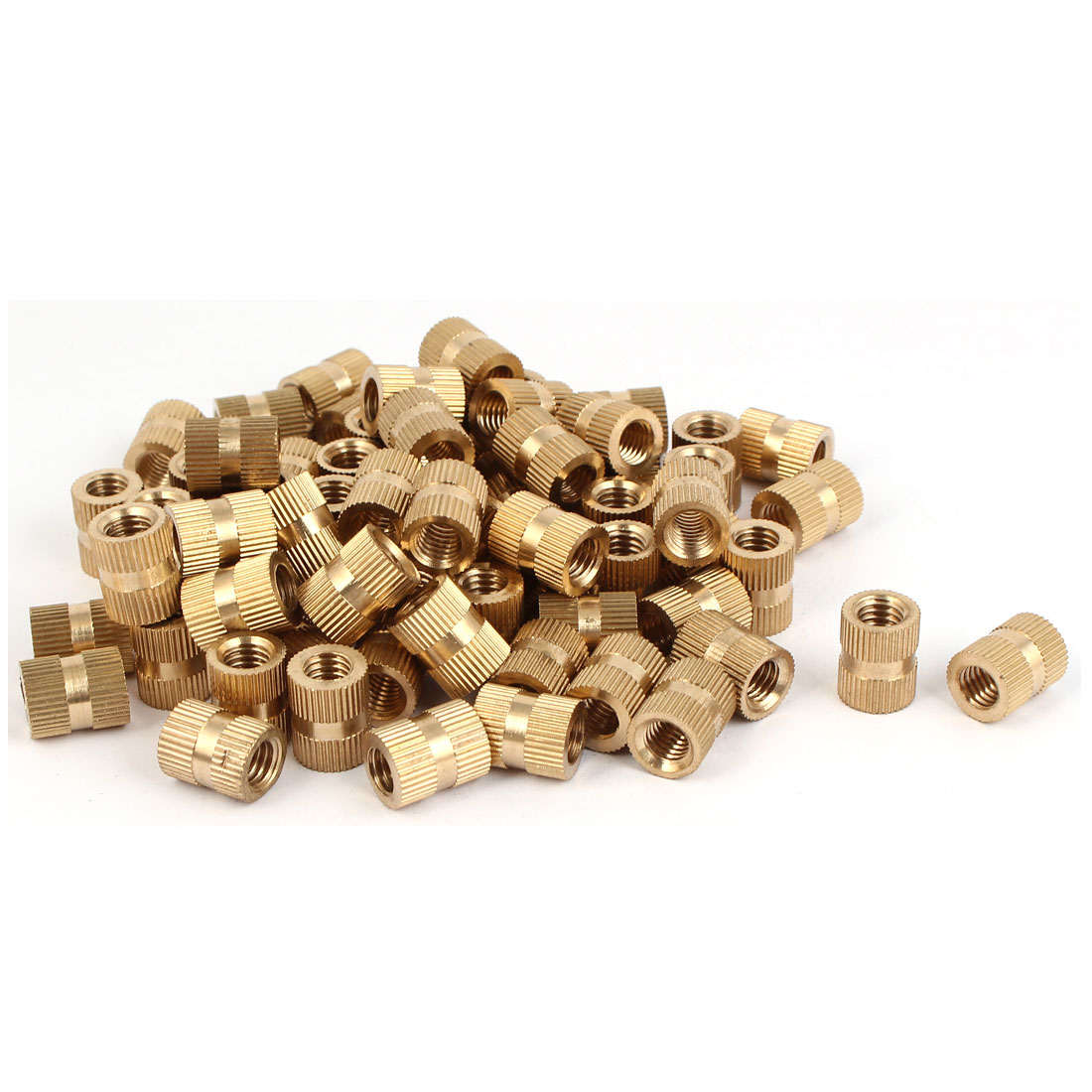 M8 x 15mm Brass Cylinder Injection Molding Knurled Threaded Embedded Nuts 100PCS