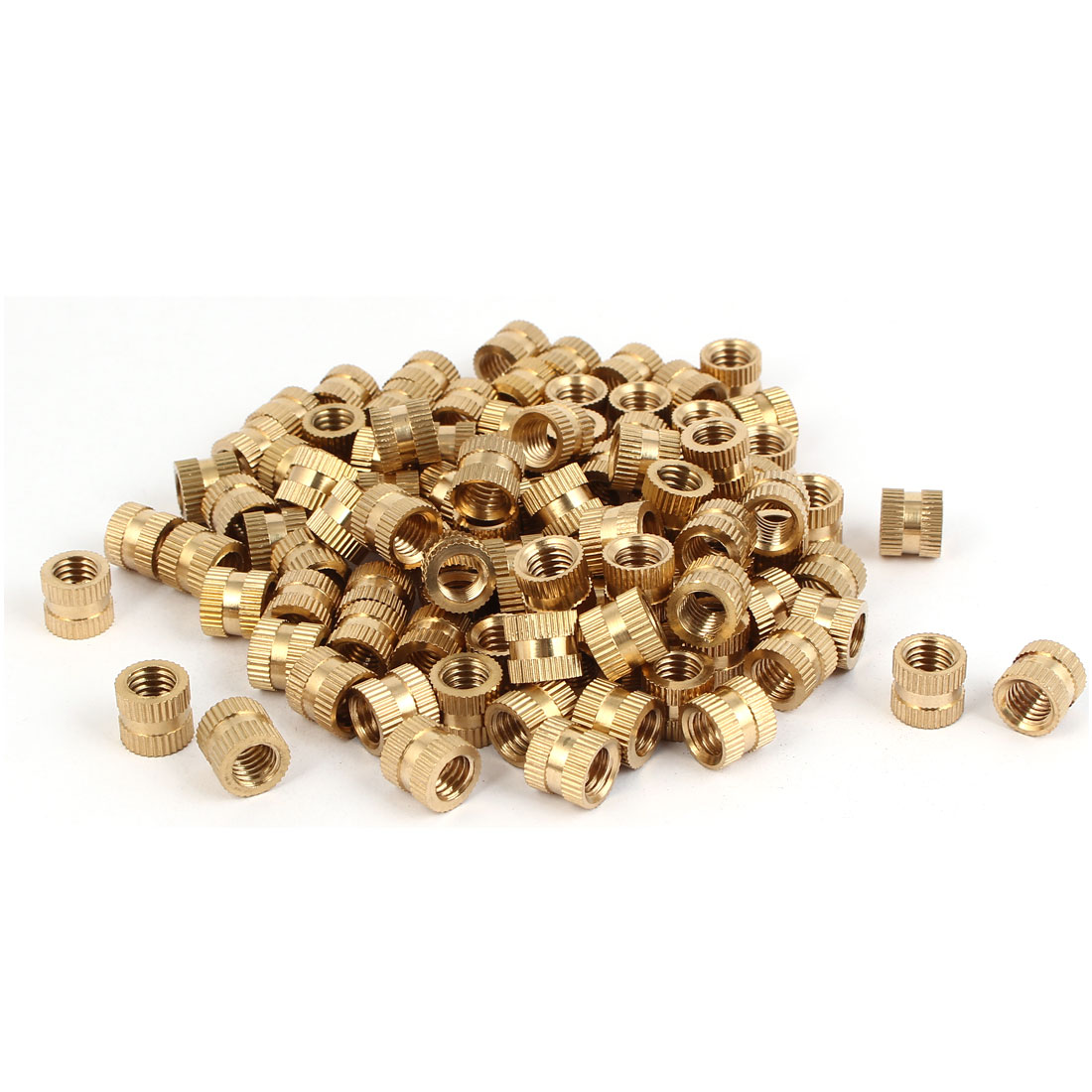 M8 x 10mm x 11mm Brass Cylinder Injection Molding Knurled Insert Nuts 100PCS
