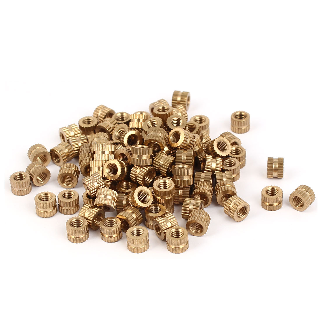 M4 x 5mm Brass Cylinder Injection Molding Knurled Threaded Embedment Nuts 100PCS
