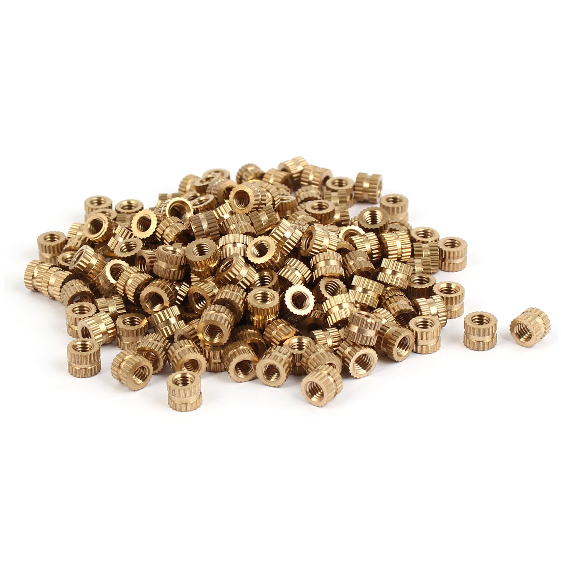 M4 x 5mm Brass Cylindrical Knurled Threaded Round Insert Embedded Nuts 200PCS