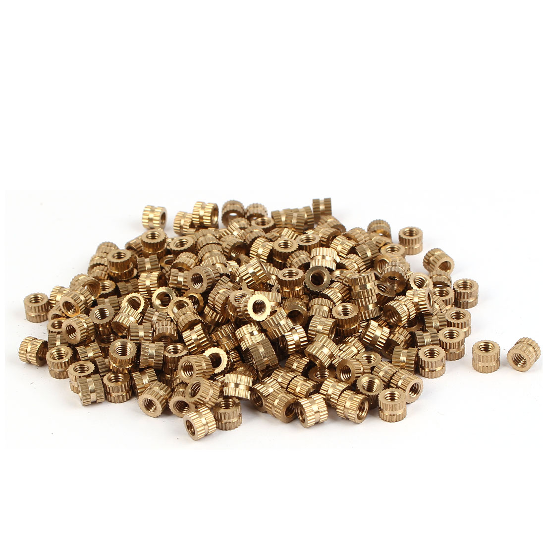 M4 x 5mm Female Thread Brass Knurled Threaded Round Insert Embedded Nuts 500PCS