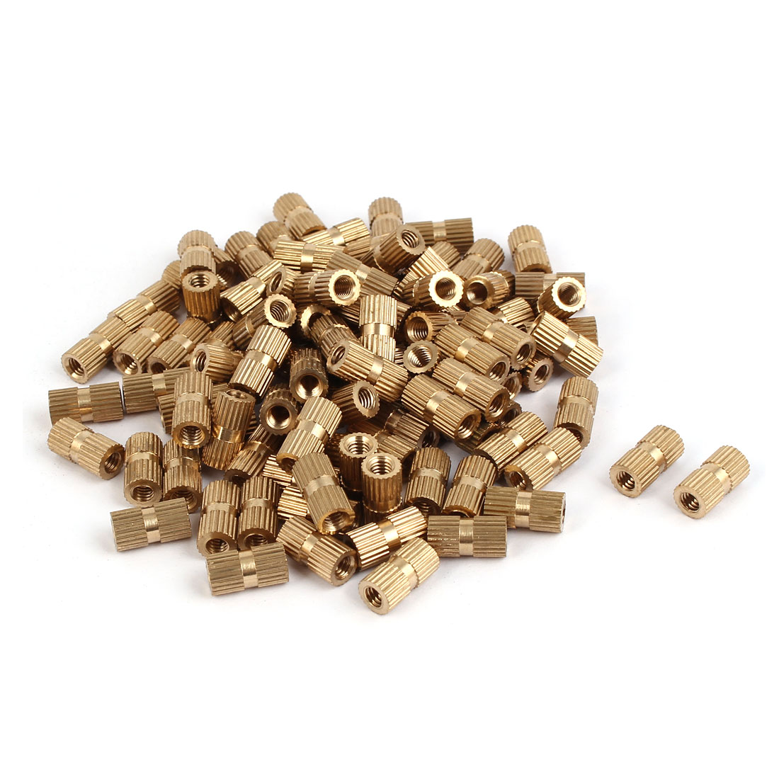 M4 x 12mm Brass Cylinder Knurled Threaded Round Insert Embedded Nuts 100PCS