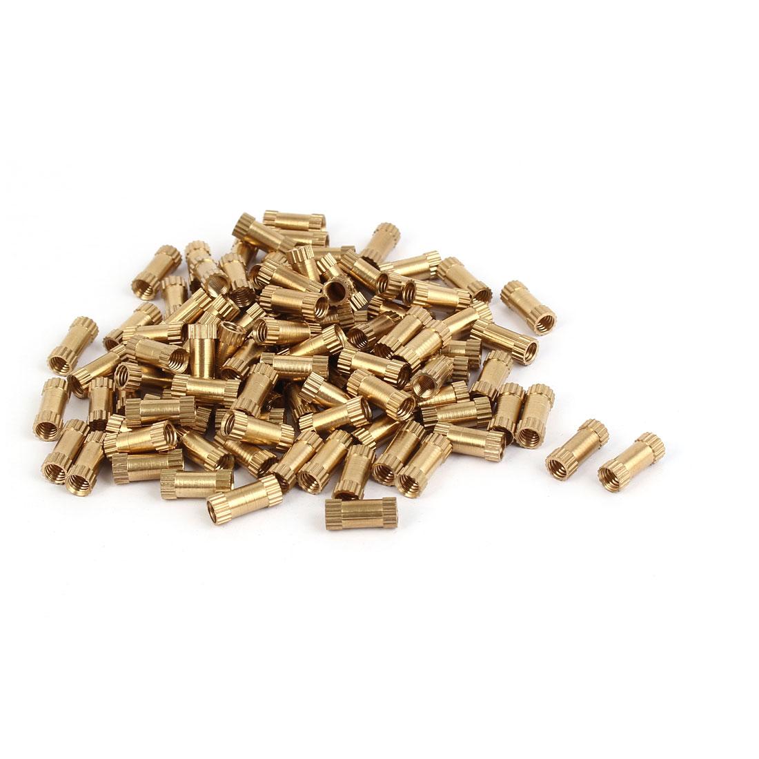 M4 x 12mm Female Thread Brass Knurled Threaded Insert Embedment Nuts 100PCS