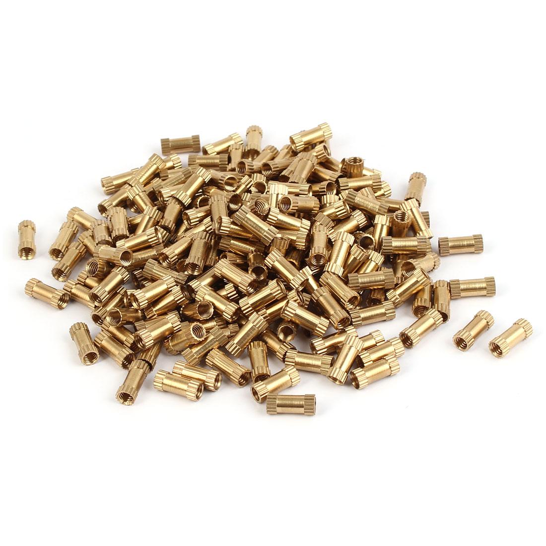 M4 x 12mm Female Thread Brass Knurled Threaded Insert Embedment Nuts 200PCS