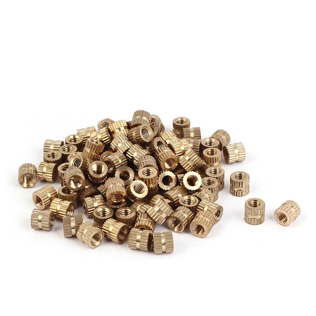 M4 x 6mm Brass Cylinder Injection Molding Knurled Threaded Embedment Nuts 100PCS