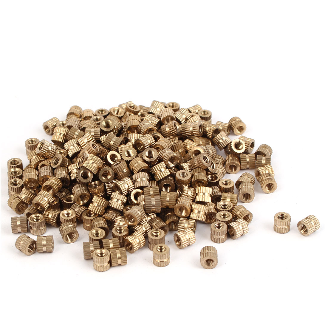 M4 x 6mm Female Thread Brass Knurled Threaded Insert Embedment Nuts 500PCS