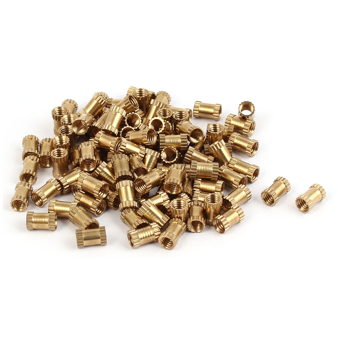 M4 x 8m Female Thread Brass Knurled Threaded Round Insert Embedded Nuts 100PCS